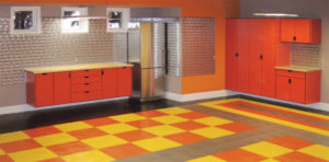 garage cabinets orange checkered garage flooring
